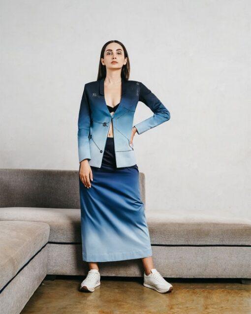Sxeriff   Top Sustainable fashion Brand in IndiaContemporary short collar dip dye blazer 17999 Velvet bralet 3499 A Line dip dye skirt 9499 FULL SET 30999