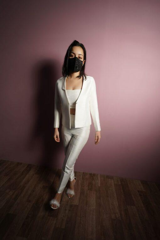 Sxeriff | Top Sustainable fashion Brand in IndiaRAW SILK BLAZER 8999 VELVET BRALET 4999 RAW SILK PANTS 4499 FULL SET 18499 1 1 scaled