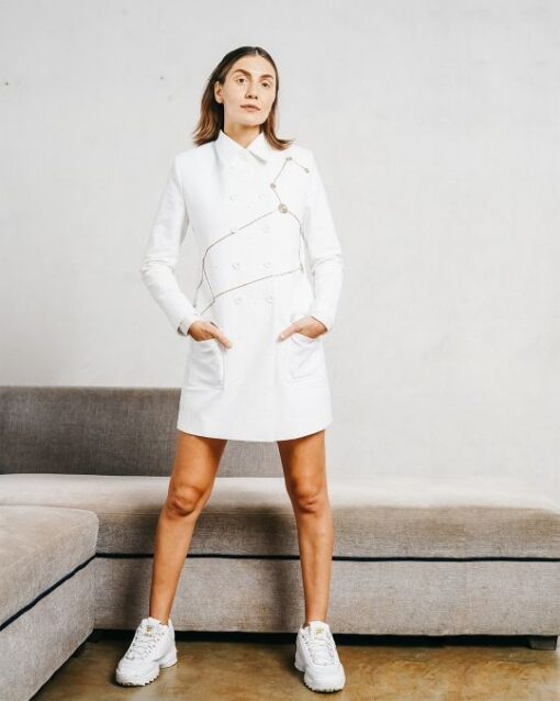 Sxeriff   Top Sustainable fashion Brand in Indiacutdana flat collared corduroy pea coat 17999
