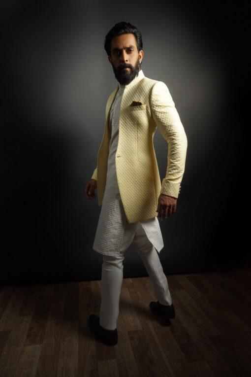 Sxeriff   Top Sustainable fashion Brand in Indiaquilted front open Indo western jacket 12999 horizontal striped kurta chudidar 12999 FULL SET 25999 scaled