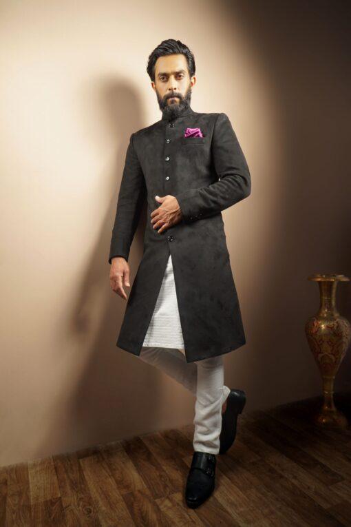 Sxeriff   Top Sustainable fashion Brand in Indiaspandex velvet classic sherwani 14999 FULL SET 28499 scaled